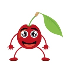 Fresh cartoon cherry leaf smile vector