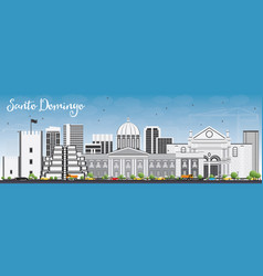 Santo domingo skyline with gray buildings vector