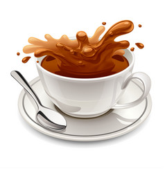 Hot chocolate splash in white cup vector