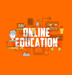 Online education line icons set vector