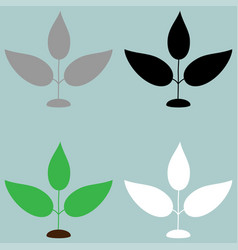 Plant green black grey white icon plant green vector