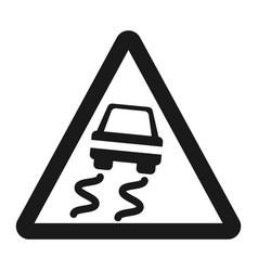 slippery road sign line icon vector image