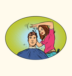 Mens haircut female hairdresser vector