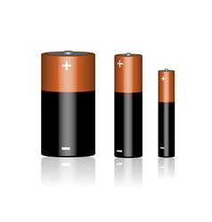 Three batteries on a white background vector