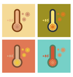 Assembly flat icons nature thermometer hot weather vector