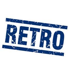 Square grunge blue retro stamp vector