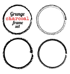 Set of four grunge circle charcoal frames vector image