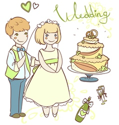 Wedding set with newlyweds vector
