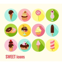 Collection of sweet icons vector