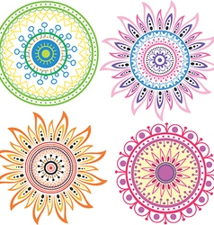 Set of color mandala vector