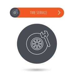Tire service icon wheel and wrench key sign vector
