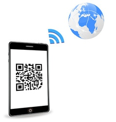 smart phone with qr code vector image