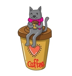 Cat with coffee vector