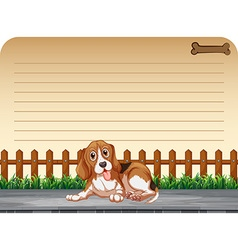 Line paper design with puppy on the sidewalk vector