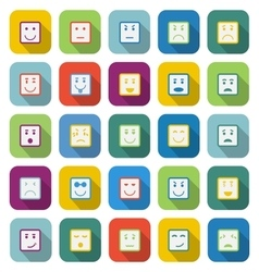 Square face color icons with long shadow vector