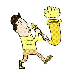 Comic cartoon man blowing saxophone vector