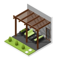 Inner courtyard isometric icon set vector
