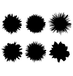 Black and white isolated set of six shapes of vector