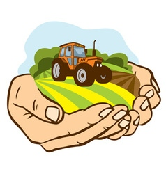 A piece of land with a tractor in the palms vector