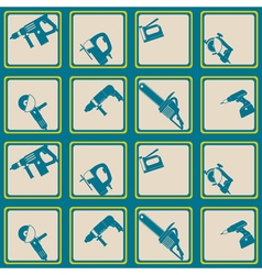 Seamless background with power tools icons vector image