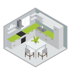 Room for cooking isometric design vector