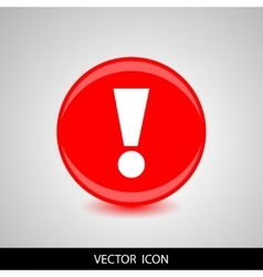 A red icon with an exclamation point vector image