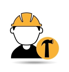 avatar man construction worker with hammer tool vector image