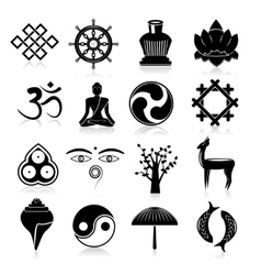 Buddhism icons set black vector