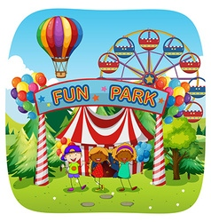 Children having fun at fun park vector image vector image