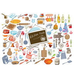 colorful doodle kitchen elements set vector image vector image