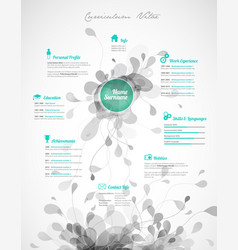 creative green color cv resume template vector image