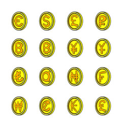 Currency icons set cartoon vector