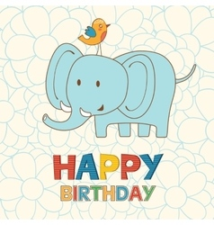 Cute happy birthday card with funny elephant and vector