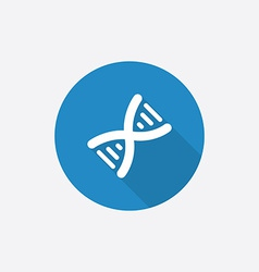 DNA Flat Blue Simple Icon with long shadow vector image vector image