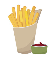 Fast food french fries tasty paper box with vector