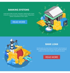 Financial isometric icons banners set vector
