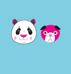 icons panda and dog vector image vector image