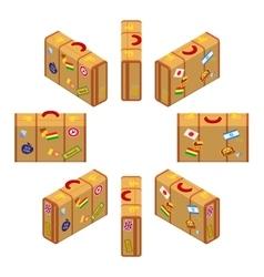 Isometric standing yellow travelers suitcases vector