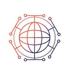 line global digital technology data connection vector image vector image