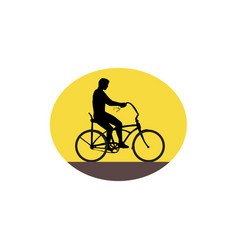 Man riding easy rider bicycle silhouette oval vector