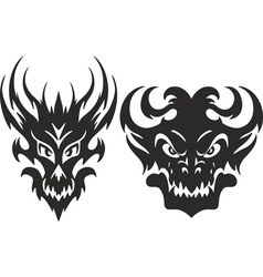 monster heads symmetric vector image vector image