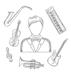 Musical hand drawn icons and objects vector image vector image