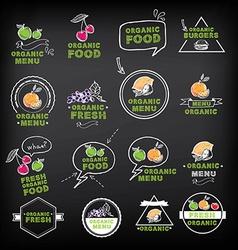 Organic food icons vegan symbols vector image