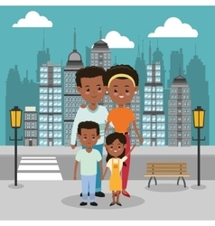 Parents and kids icon family design city vector