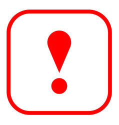 Red square exclamation mark icon warning sign vector
