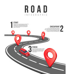 Road infographic template with red vector