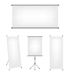 Roll up x-stand banner and projection screen vector image vector image