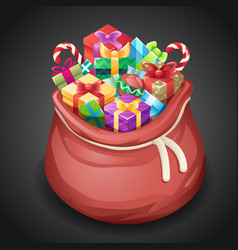 santa gifts bag new year christmas cartoon design vector image