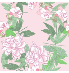 Seamless pattern with pink peonies and flowers vector