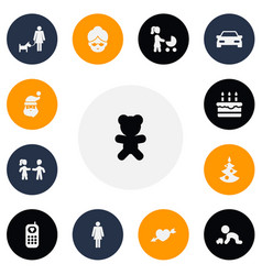 set of 13 editable family icons includes symbols vector image